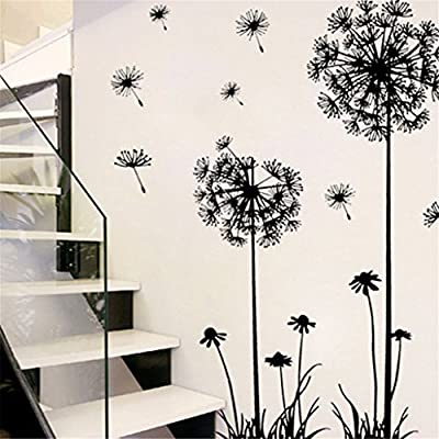 Tuscom Black Creative PVC Dandelion Flower Plant Tree Large Removable Home Wall Decal Sticker