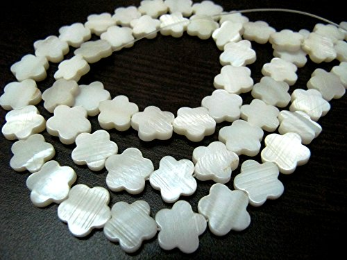 SALE- Natural Mother of Pearl Beads / Flower Shape Pearl Beads / Sold per Strand of 16