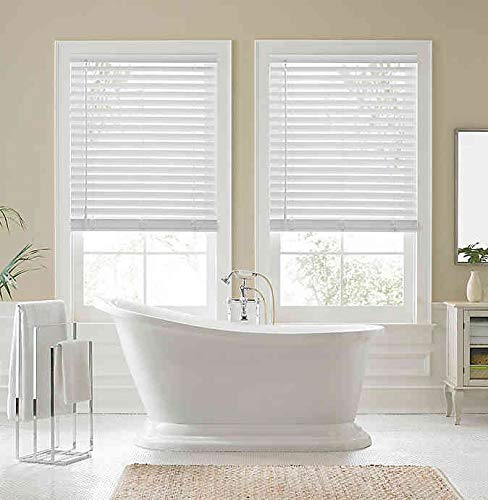 Real Simple Faux Wood Cordless 31-Inch x 48-Inch Shade in White