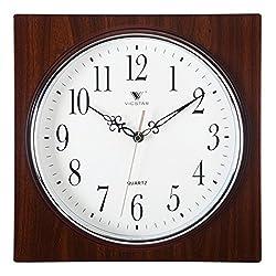 Lingxuinfo Wall Clock, European Retro Style Square Wall Clock Mute Quartz Clock Wall Decor for Living Room Kitchen Bedroom - Dark Wood Grain Color