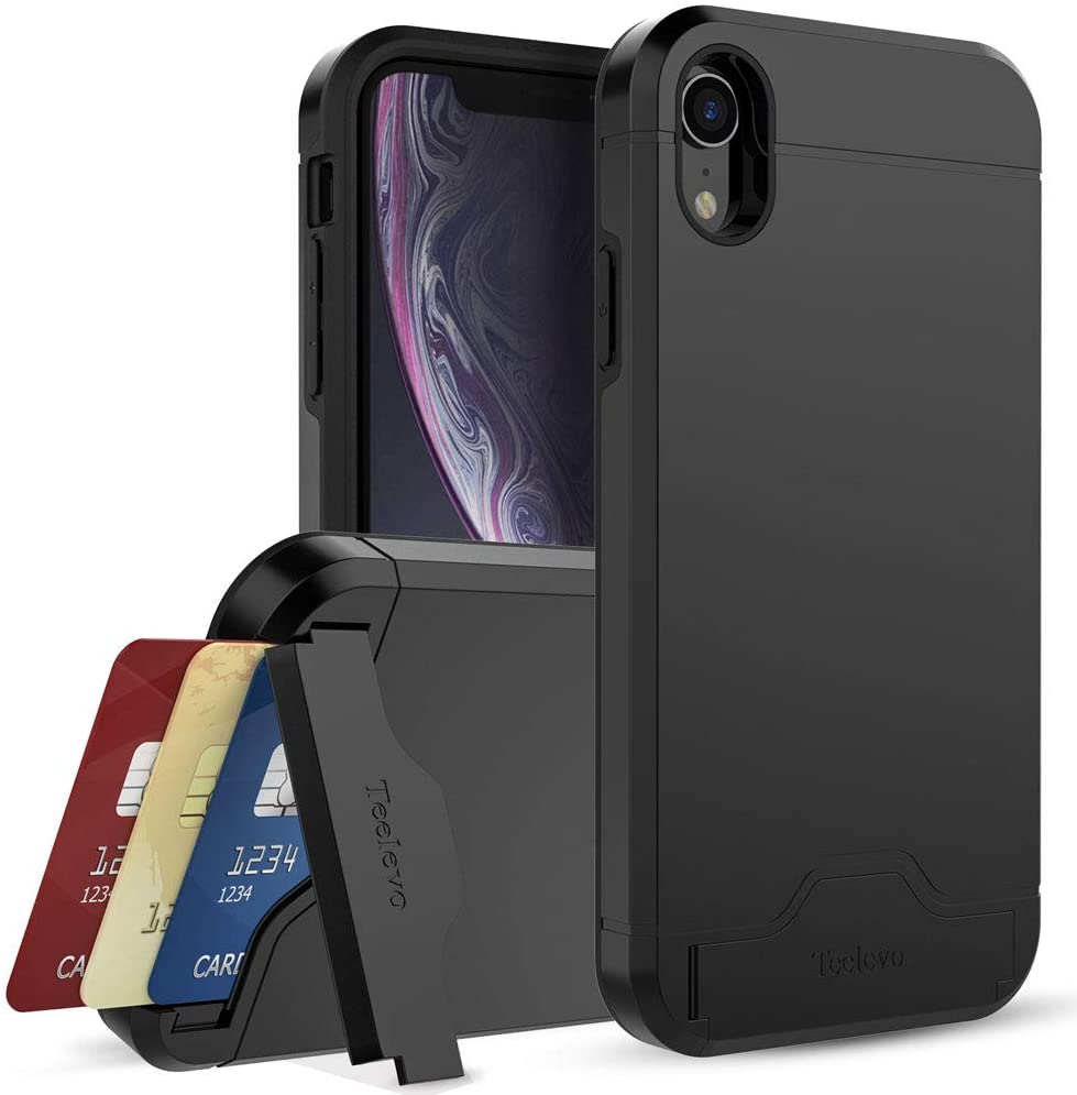 Teelevo Wallet Case for Apple iPhone XR (2018), Dual Layer Case with Card Slot Holder and Kickstand for Apple iPhone XR - Black