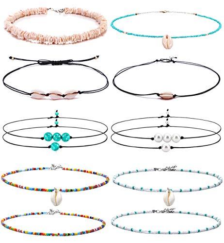 FUTTMI 12 Pieces Shell Necklace Pearl Choker Handmade Boho Rainbow Seed Beads Choker Adjustable for Women Girls ()