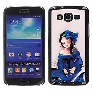 Be Good Phone Accessory // Dura Cáscara cubierta Protectora Caso Carcasa Funda de Protección para Samsung Galaxy Grand 2 SM-G7102 SM-G7105 // Cute Sad Girl