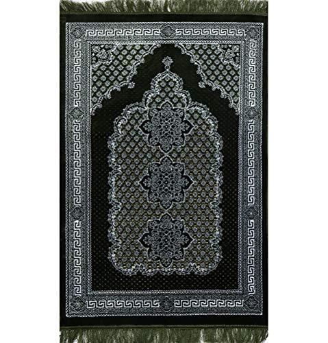 (Modefa Soft Plush Velvet Islamic Prayer Rug Muslim Turkish Janamaz Sajadah Carpet Geometric Floral Ipek (Green))