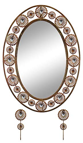 GIFTS PLAZA (D) Oval Wall Mirror with Key Chain Hooks, Copper Finish with Swarovski 30x21 (Mirror Oval Keychain)