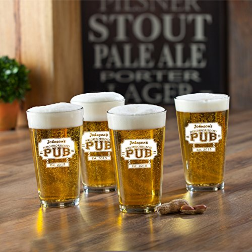 Set of 4 Personalized Neighborhood Pub Pint Glasses - Monogrammed Pint Glasses - Custom Beer - Pub Custom Glasses