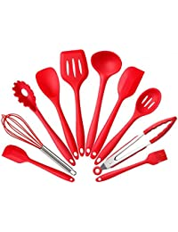 Want 10-Pieces Kitchen Cooking Utensils Made of Food-Grade Silicone,Heat Resistant ,Safe for Non-Stick Cookware Barbecue... discount