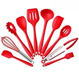 Silicone Kitchen Utensils Set, 10 Pieces Silicone Cooking & Baking Tool Sets Non-toxic Hygienic Safety Heat Resistant with Tongs, Whisk, Brush, Ladle, Spatula, Slotted Spoon, Spoonula (Red)