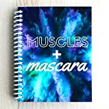 TrainRite Compact Fitness Journal - Muscles + Mascara - Turquoise (Exercise Log Book)