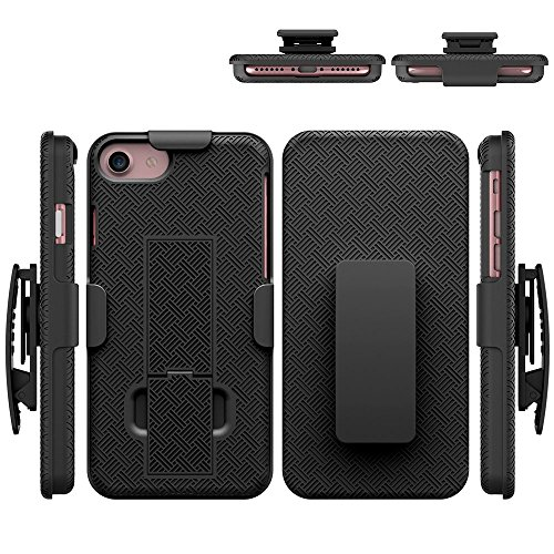 Price comparison product image iPhone 8/7 Case, HLCT COMBO Slim Shell Holster Case w/Built-In Stand Kickstand + Swivel Belt Clip Holster for Apple iPhone 8/7