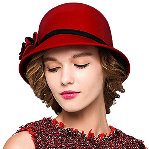 Maitose&Trade; Women's Bow Wool Felt Bucket Hat Red