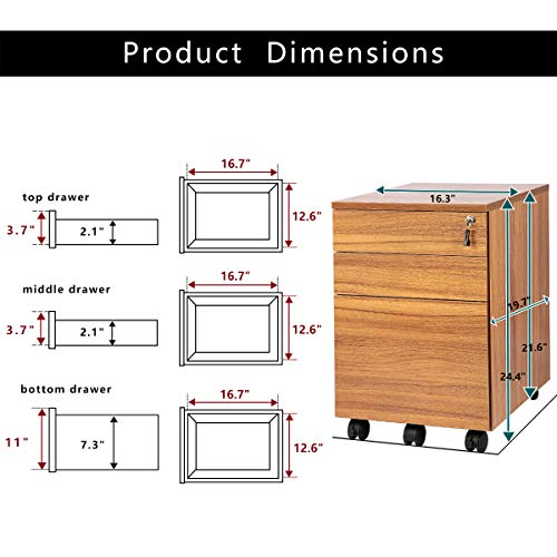 TOPSKY 3 Drawers Wood Mobile File Cabinet Fully Assembled Except Casters (Oak Brown Letter Size) by TOPSKY (Image #6)