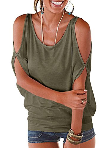 Ranphee Army Green Summer T Shirt Women Short Sleeve Cold Shoulder Loose Fit Pullover Casual Top,Medium,Army Green