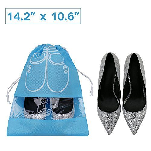 Pack of 10 Dust-proof Breathable Travel Shoe Organizer Bags for Boots, High Heel - Drawstring, Transparent Window, Space Saving Storage Bags, Medium Size, Sky Blue by WESTONETEK (Image #1)