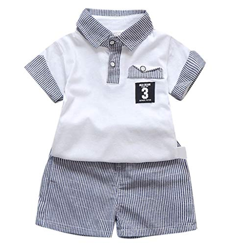 (Toddler Boys Lapel Cotton T-Shirt Tops Clothing +Shorts Shorts Outfit Set 1-3T)