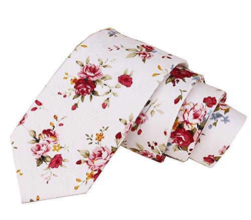 Floral Tie Men's Cotton Printed Flower Neck Tie Skinny Neckties (14) ()