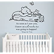 Winnie Pooh - As Soon As I Saw You Quote Baby Room Wall Decal- Decal For Baby's Room- Quote Mural Decal (Wide 22  x 26  Height)