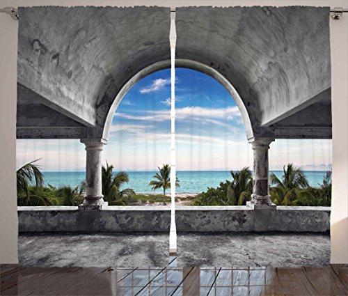 Ambesonne Ocean Decor Curtains, Beach and Palm Tree View from an Abandoned Mansion Coastal Charm Peaceful Image, Living Room Bedroom Window Drapes 2 Panel Set, 108W X 84L Inches, Grey Blue