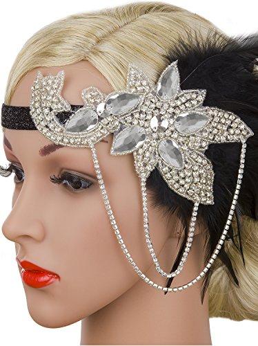 Vijiv Silver Black 20s Headpiece Vintage 1920s Headband Flapper Great Gatsby