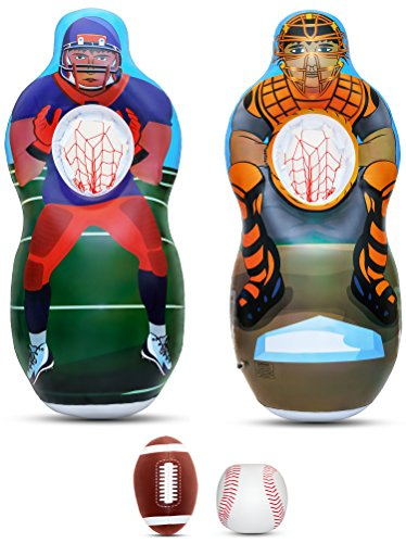 Inflatable Two Sided Football & Baseball Target Set - Includes One Inflatable 5 Foot Tall Target (Football Player on one side and Baseball Catcher on 2nd Side), a Soft Mini Football and Mini Baseball -