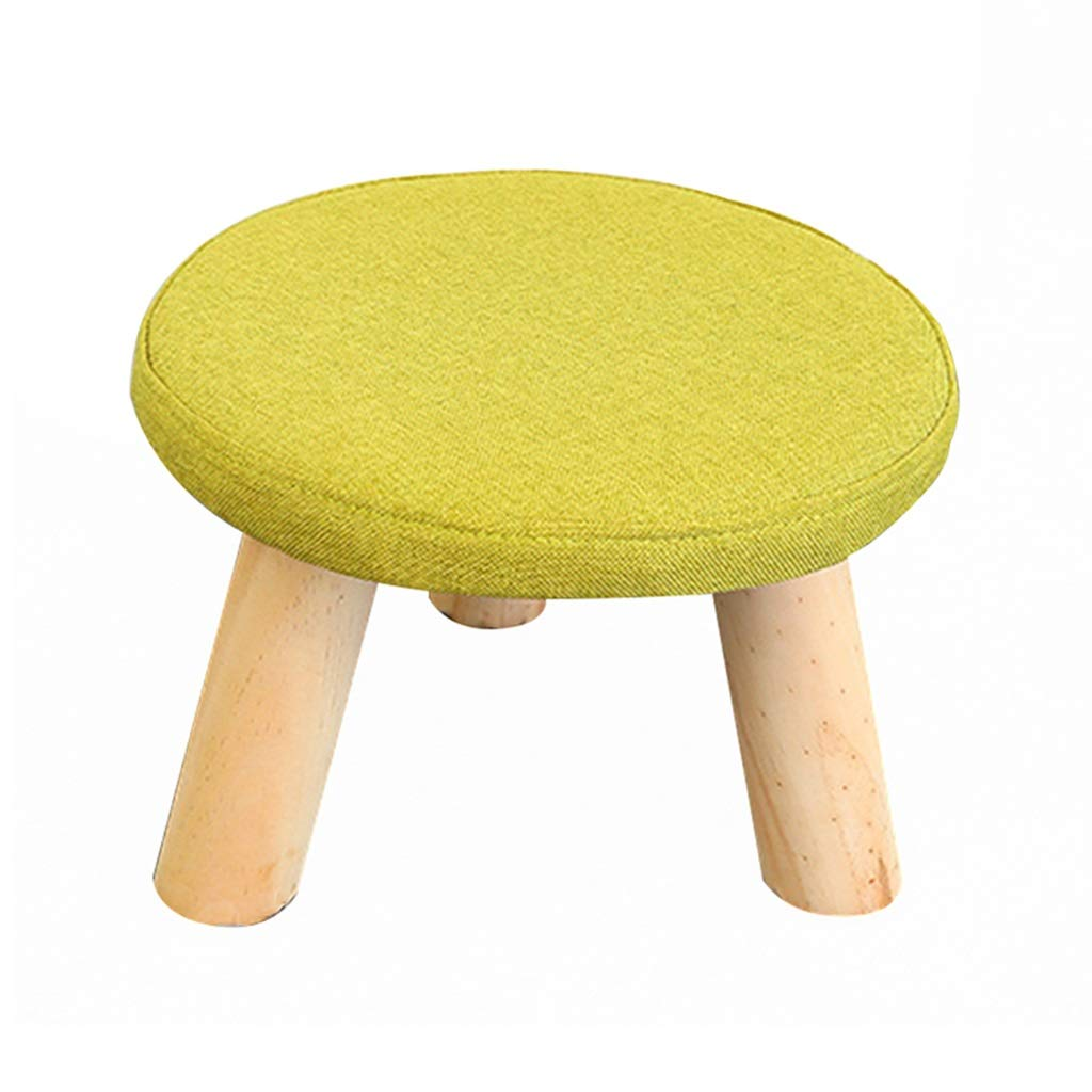 Stool - shoe bench, home sofa bench, linen solid wood coffee table stool, children's stool (Color : C, Size : Round)