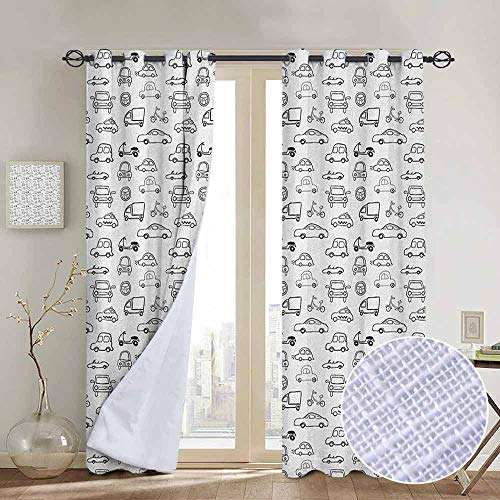NUOMANAN Kitchen Curtains Cars,Transportation and Automotive Industry Themed Collection Childish Sketch Art Style, Black White,Rod Pocket Drapes Thermal Insulated Panels Home décor 120