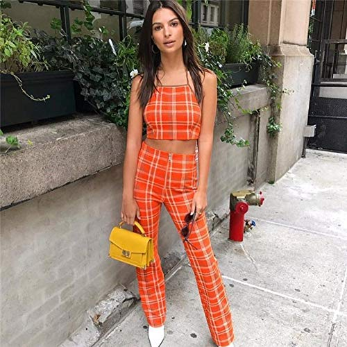 loukou Women Casual Halter Sleeveless Plaid Tops High Waist Zip Pants Set Pantsuits Orange