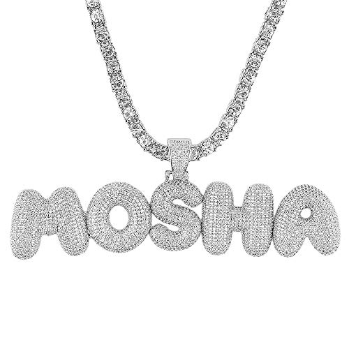 Hip hop A - Z Initial or 0-9 Number or Custom Bubble Letter Pendant with Tennis Chain for Men Women