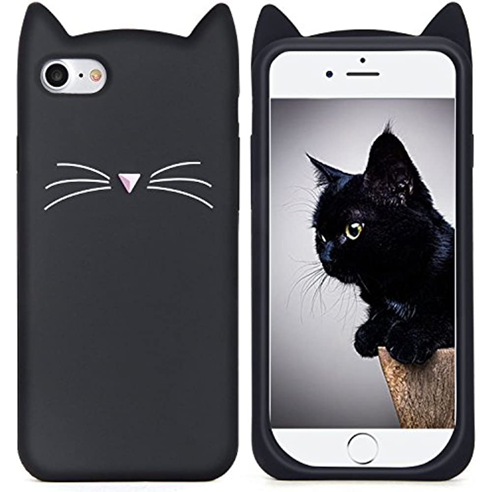 96ad0b81199045 IPhone Cases 6S Case, Cute 3D Black MEOW Party Cat Kitty Whiskers ...