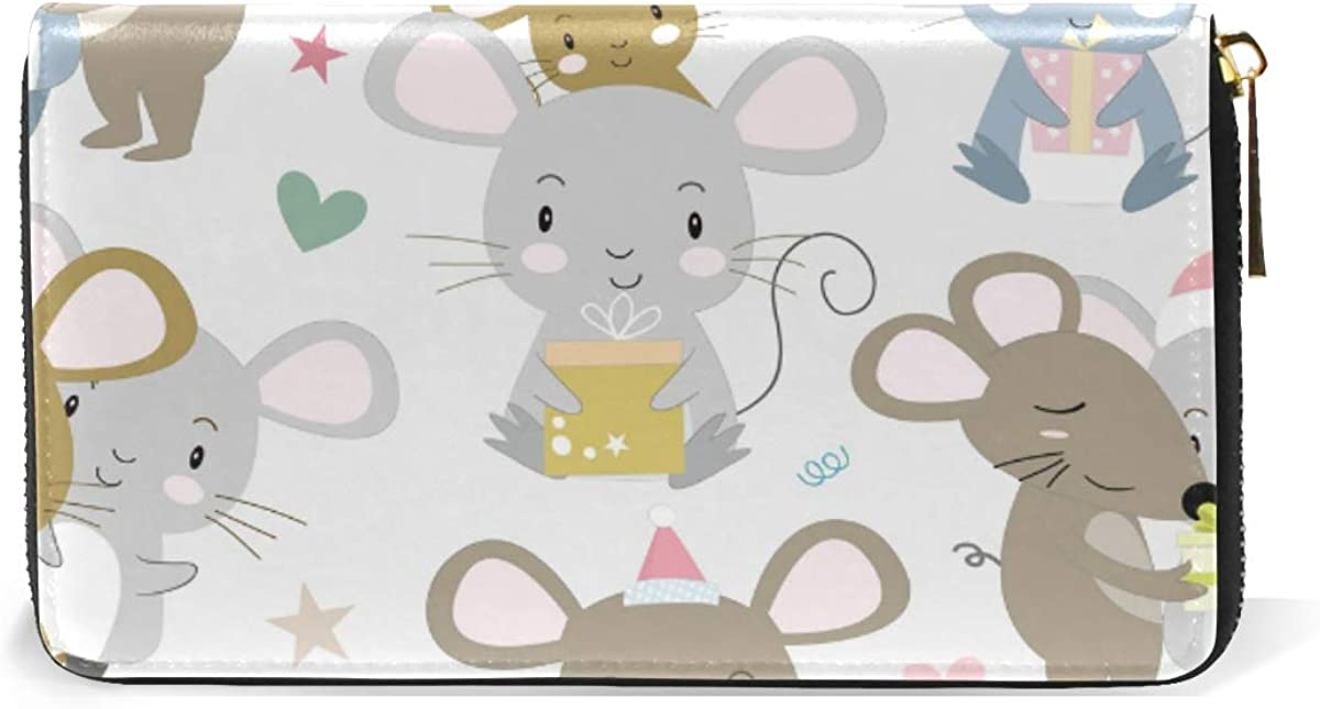 Couple Mouse Happy Christmas Wallet Real Leather Purse Credit Card Holder for Women Phone Girl