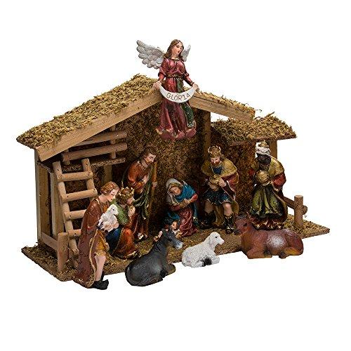 Kurt Adler 12-Piece Nativity Set with Wooden Stable by Kurt Adler