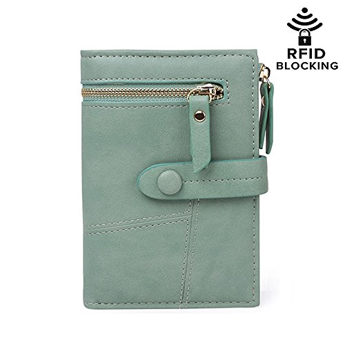 RFID Blocking Soft Leather Short Wallet Card Holder Cash Coin Organized Large Space Zipper Exterior Pocket Travel Purse for Women Girls (#2 Green) (2 Exterior Pockets)