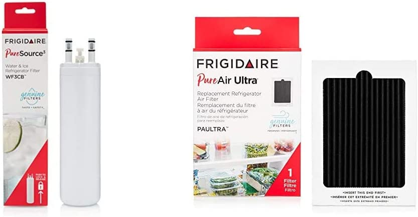 "Frigidaire WF3CB Puresource Replacement Filter, 1-Pack, 1 Count, white & PAULTRA PureAir Ultra Refrigerator Air Filter, 6.5"" x 4.75"""