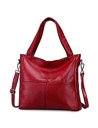 S-ZONE Women's Genuine Leather Tote Handbag Shoulder Crossbody Bag
