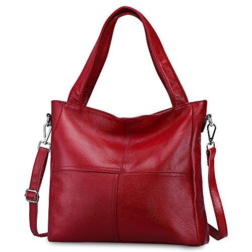 Sac fourre-tout en cuir véritable souple de la Zone S-Ladies, style classique, sac à bandoulière Bonzer Shopping noir et rouge  cuoio Vero Cuoio Morbido Tote Moda Classico Leggero Bonzer Shopping Borsa Crossbody Nera Rosso