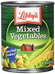 Libby mixed vegetables is a delicious mix of peas, potatoes, beans, corn and carrots.. As a simple and delicious side dish, and as a valued ingredient, our mixed vegetables bring nutrition, flavor, and color to recipes year round. They are lo...