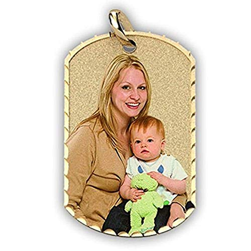 PicturesOnGold.com Photo Engraved Dog Tag Photo Pendant - 2/3 Inch X 1 Inch - Solid 14K Yellow Gold with Engraving