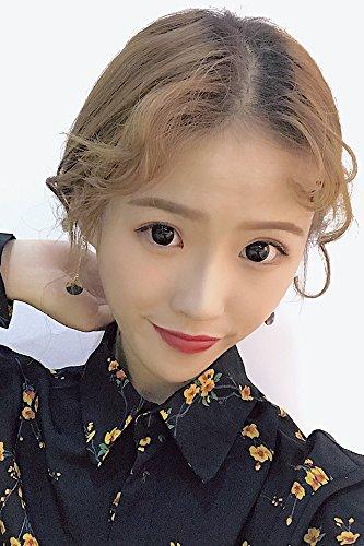 Amber Tortoiseshell Small Round Golden Caramel Color Mix Match Long Stick Earrings earings Dangler Eardrop Earrings No Pierced Ear Clip Women Girls Students ()