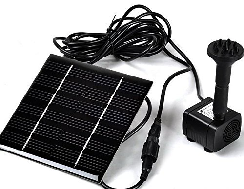Sunnytech Solar Power Water Pump Kits – Garden Fountain Pool Watering Pond Pump Pool Aquarium Fish Tank with Separate Solar Panel and 3M Long Cable & 4 Sprayer Adapters(Black)