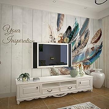 Yosot 3d Holz Farbe Feder Tv Hintergrundbild Wohnzimmer