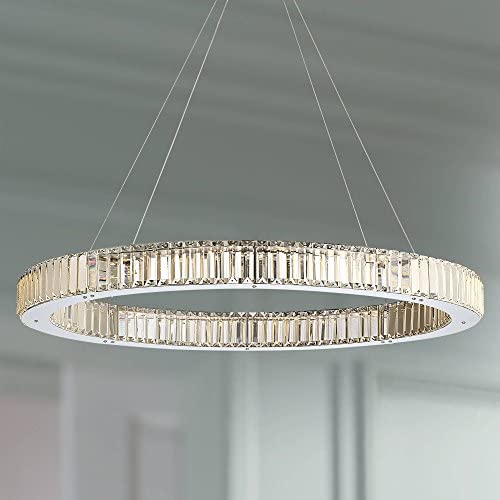 Vesta Chrome Pendant Chandelier 35 1/2″ Wide Modern LED Ring Crystal Glass Fixture