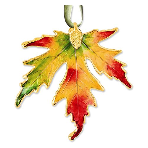 (Jewelry Adviser Gifts Lacquer Dipped 24k Trim Multicolor Silver Maple Decorative Leaf )