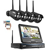"""All in one with 10.1"""" Monitor Wireless Security Camera System,SANNCE 1080P Wireless Home Security System,4pcs 2MP Indoor/Outdoor Security Camera,Remote View,100FT Night Vision,NO Hard Drive Included"""