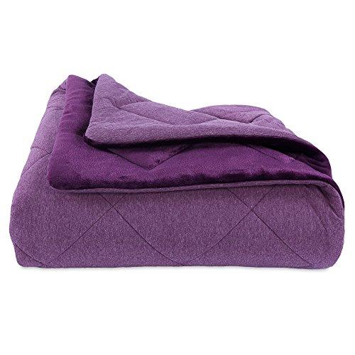 Berkshire Blanket Heathered Jersey Comforter Set with Plush Velvetloft Reverse Bedding, Full/Queen, Eggplant (Jersey Quilted)