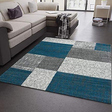 VIMODA Wohnzimmer Teppich Kurzflor Türkis Grau Weiß Modern Kariert  Kachel-Optik - sehr pflegeleicht in der Handhabung, Maße:80 x 150 cm