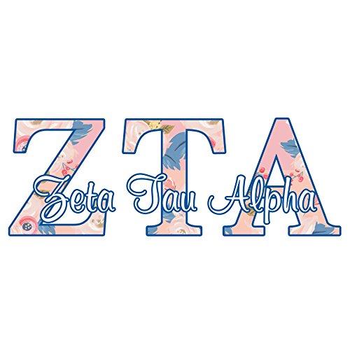 Zeta Tau Alpha sorority decal - 4 inch wide sticker - Floral letters in pink