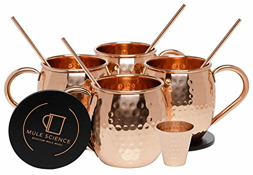 Mule Science Moscow Mule Copper Mugs - Set of 4 - 100% HANDCRAFTED - Pure Solid Copper Mugs 16 oz Gift Set with BONUS: Highest Quality Cocktail Copper Straws, Coasters and Shot Glass! (Moscow Mule Cup Set)