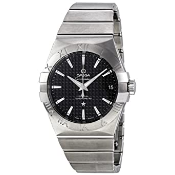 d3cd153559c5 Image Unavailable. Image not available for. Color  Omega Constellation Black  Dial Stainless Steel Mens ...