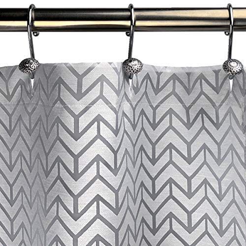 Bayside Wind Burnout Fabric Shower Curtain, White/Gray, Geometric, 72 × 72 inches, Buttonhole Top, Machine Washable
