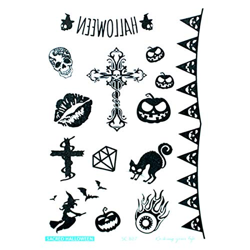 (Party Diy Decorations - Halloween Ghoul Hand Skeleton Cross Tattoos With Fake Scab Makeup Scary Party Decoration Sticker - Party Decorations Party Decorations Plastic Skeleton Dress)